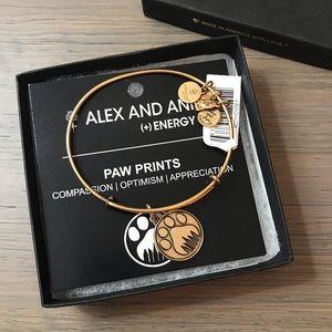 Alex and Ani Gold Paw Prints Bangle - NWT